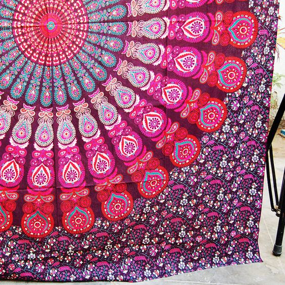 Picnic Mat Indian Psychedelic Art Wall Hanging Large por Hymnicraft