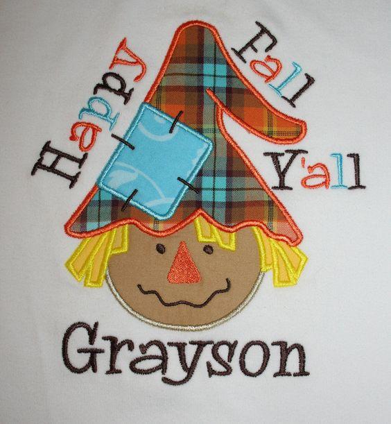 Happy Fall Y'all BOY Scarecrow Shirt via Etsy.