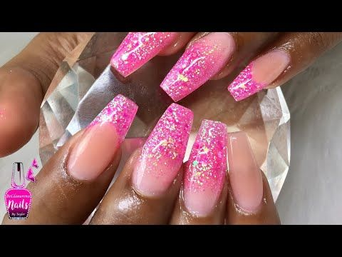 Polygel Nails How To Glitter Ombre With Polygel Youtube Polygel Nails Nails Glitter Fade Nails