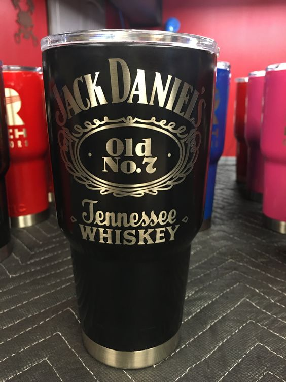 Jack Daniels Powder Coated Laser Engraved Yeti S And