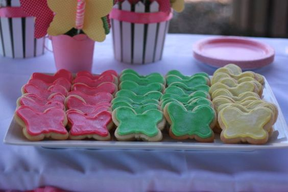 Shimmering butterfly cookies at a Butterfly Birthday party