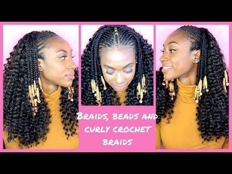 Curly Crochet Braids With Fulani Braids And Beads Youtube Tree Braids Cornrow Hairstyles Tree Braids Hairstyles
