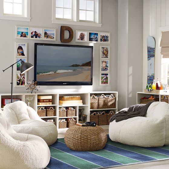 This begs for hanging out ~ love the fluff of the chairs mixed with the beachy influences… #Teens #Tweens #gameroom