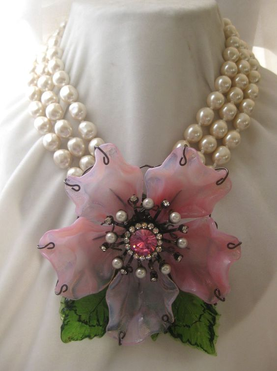 VRBA Huge Molded Pink & Green Glass & Pearls Convertible Necklace from vintagejewelrytoo on Ruby Lane