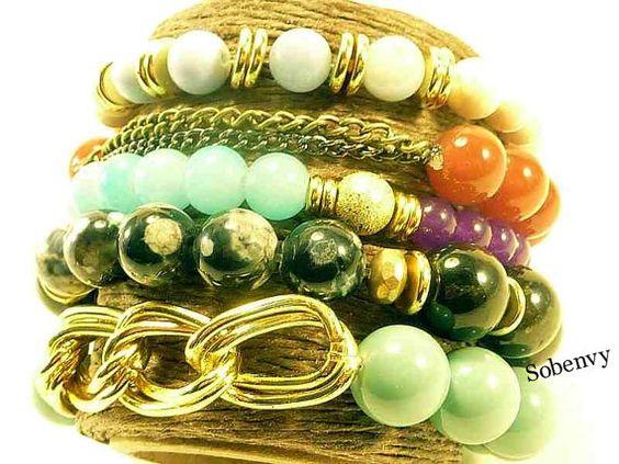 Green Jade Chain Swarovski crystal Bracelet by SobeEnvy on Etsy