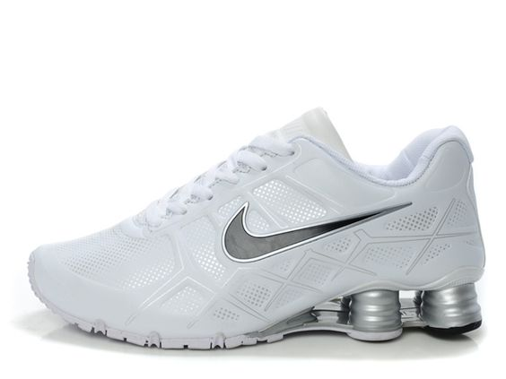 Nike Shox -Turbo12 Men All White Shoes Nike Shox Turbo 12 running shoe utilize lightweight