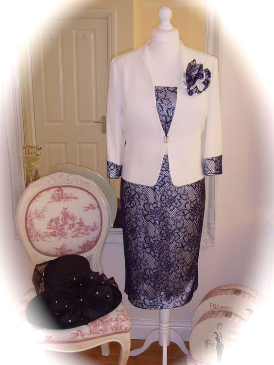 BNWT Cabotine Dress/Jacket, 24, White/Navy & Snoxell Hat, Weddings Races Formal