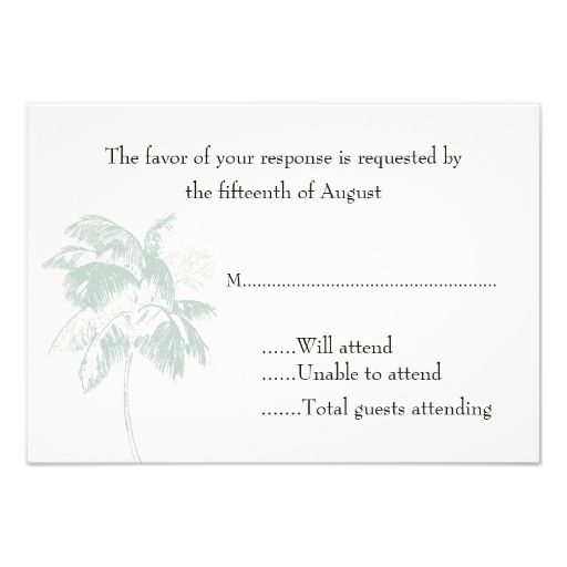 Palm Tree Wedding Response Card Custom Announcements