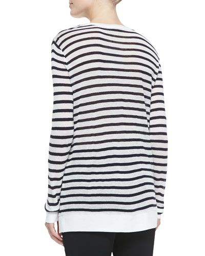 T99DW T by Alexander Wang Long-Sleeve Striped Crewneck Tee