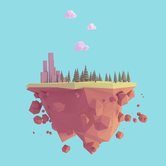 Low Poly Floating Island, Ajmal Rizni on ArtStation at https://www.artstation.com/artwork/K1eAW