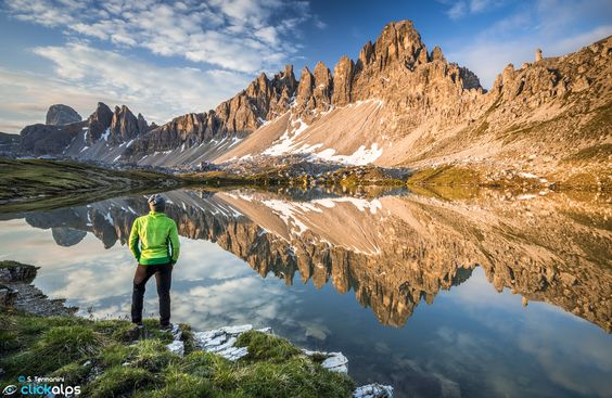 Enjoy the view - Paterno Mountain reflecting on Laghi del Piano, Trentino Alto Adige, Italy