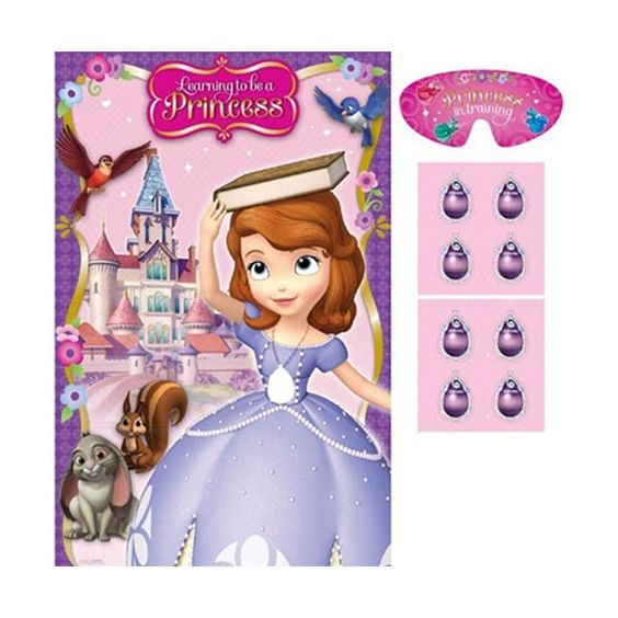 Amscan Stick / Pin Jewel On Sofia the First Party Game With Blindfold 2 - 8 Players
