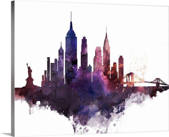 New York City Watercolor Cityscape Ii New York Painting City Skyline Art Watercolor City