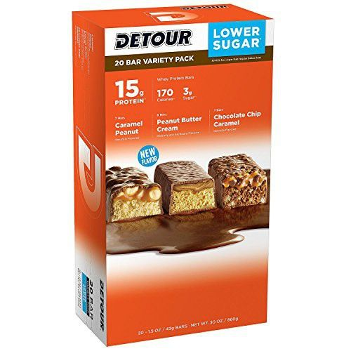 Detour Lower Sugar Whey Protein Bar 7 Caramel Peanut Bars 6 Peanut Butter Cream Bars 7 Chocolate Chip Caramel 1 5 Ounce Each Variety 1 Pack 20 Count Total Low Sugar Protein Bars Protein Bars Low Sugar