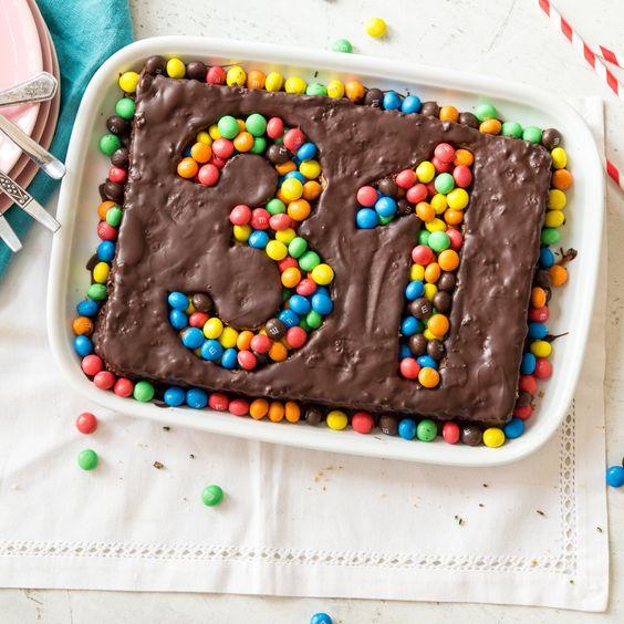 Dieser Super-Duper-Geburtstagskuchen ist in Windeseile gebacken und noch schneller verziert. Viele bunte M&Ms ... .