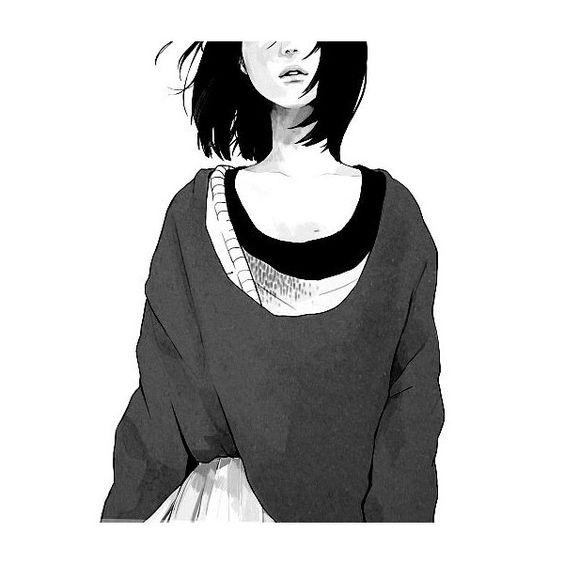 Girl Black And White Anime Sweater Alone Manga Skirt