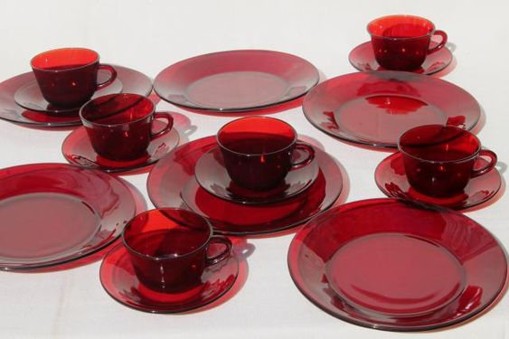 Vintage Ruby Red Glass Dishes Dinnerware Set For 6 Dinner Plates Cups Saucers Christmas Dinnerware Red Dinnerware Set Stoneware Dishes