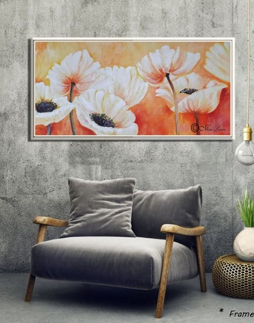 Flowers Painting Large Painting Paintings On Canvas Flower Etsy Wall Art Living Room Flower Painting Wall Art Painting
