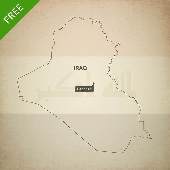 Map of Iraq outline - Printable, free vector format and JPEG download. Royalty free high resolution JPEG and vector format (layered, editable, AI, EPS and PDF).