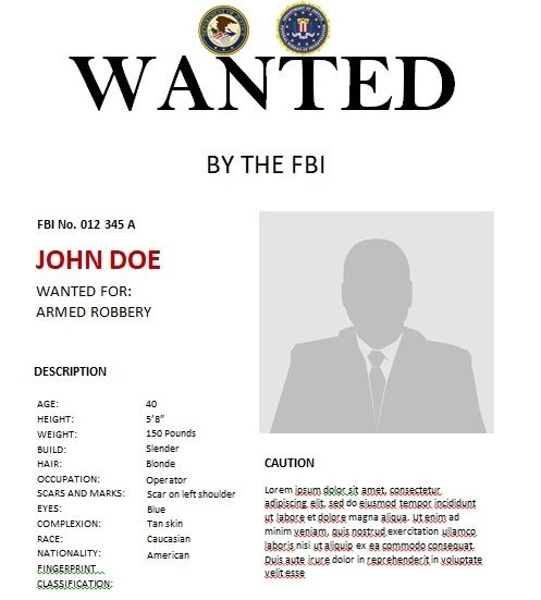 Fbi Wanted Poster Template Poster Template Templates Words