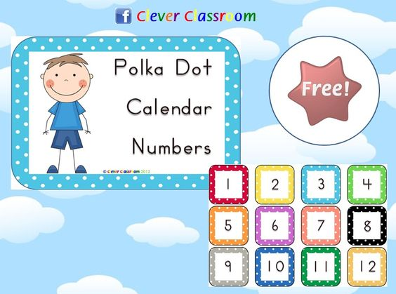 Classroom Calendar Numbers : Calendar numbers polka dots and on pinterest