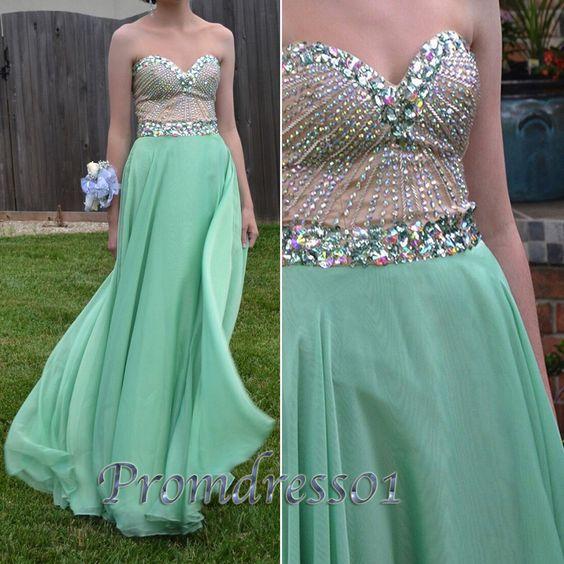 #promdress01 #promdress, 2015 cute mint green chiffon rhinestones long prom dress for teens, ball gown, bridesmaid dress -> www.promdress01.c... #coniefox #2016prom