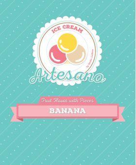 Sabores de Fruta c/ Pedaços - Base de gelado artesanal Banana - 1250 grs // Lendas Sublimes - Produtos Gourmet