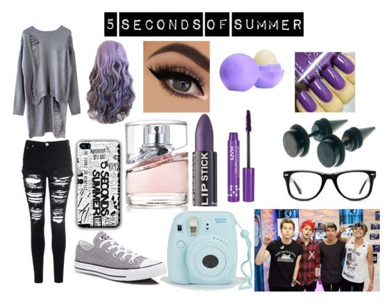"""5 seconds of summer"" by sbaez-2 ❤ liked on Polyvore featuring Glamorous, Converse, Muse, HUGO, NYX, Eos, women's clothing, women, female and woman"