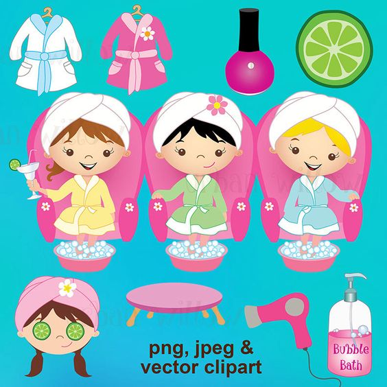 Spa Party - 17 piece clip art set in premium quality 300 dpi, Png and Jpeg & Vector files. by UrbanWillow on Etsy https://www.etsy.com/uk/listing/231670474/spa-party-17-piece-clip-art-set-in
