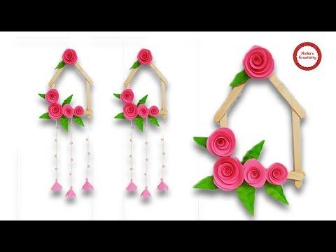 How To Make Beautiful Wall Hanging With Paper Ice Cream Stick Diy Popsicle Stick Craft Craft Stick Crafts Diy Popsicle Stick Crafts Popcycle Stick Crafts