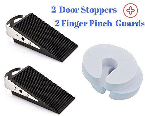 2 Door Stopper Rubber Door Stop Holder For Large And Heavy Duty Doors In Home And Office Plus 2 Finger Pinch Guar Door Stopper Baby Proofing Finger Pinch Guard
