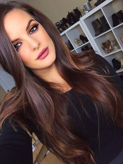 Chocolate brown hair color with caramel highlights