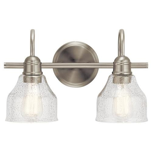 Kichler Avery 2 Light Nickel Farmhouse Vanity Light Lowes Com Farmhouse Vanity Lights Vanity Lighting Bathroom Vanity Lighting