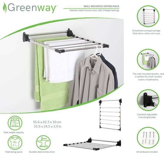 Greenway Stainless Steel Indoor Wall Mount Drying Rack Gfr5050ss