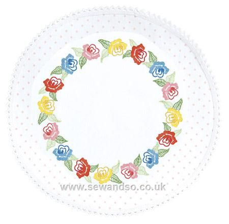 Buy Dotty Roses Large Round Doily - 30 x 30cm online at sewandso.co.uk