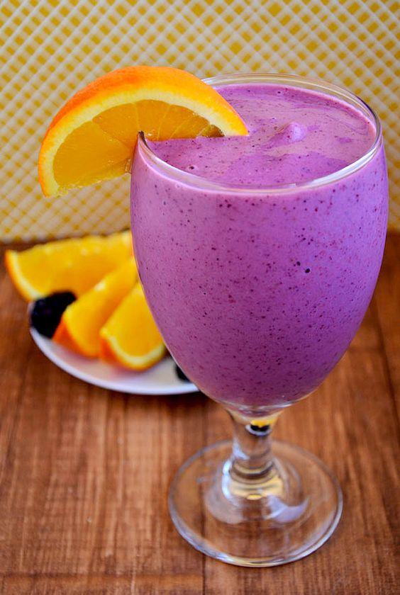 Sunrise Smoothie: 1 cup frozen berries, 1 frozen banana, 1 orange and 4 oz. of Greek yogurt.