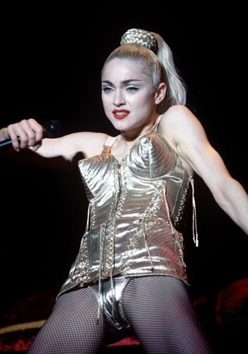 1990 Ever the trend-setter, Madonna ushered in the vogue for underwear as outerwear on her Blonde Ambition tour in 1990 with a little help from Jean Paul Gaultier and his pointy bras.