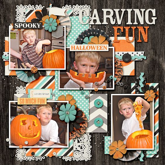 scrapbooking layouts, scrapbook ideas, Fall, Halloween, pumpkin
