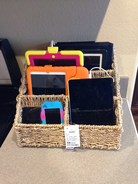 Charging stations families and baskets on pinterest Charger cord organizer diy