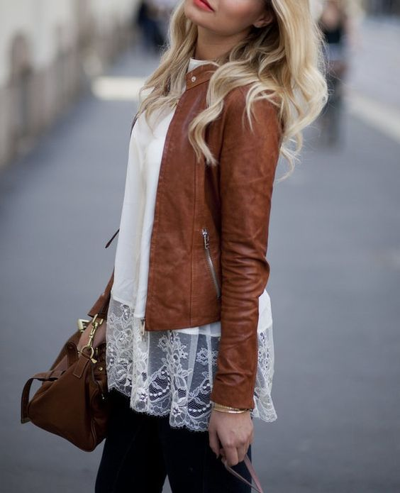 This outfit is very perfect for autumn. The brown leather jacket is super cute and will keep you warm on an autumn night. The lace shirt is to die for, and if you take the jacket off it would be perfect for summer with bright coloured shorts.