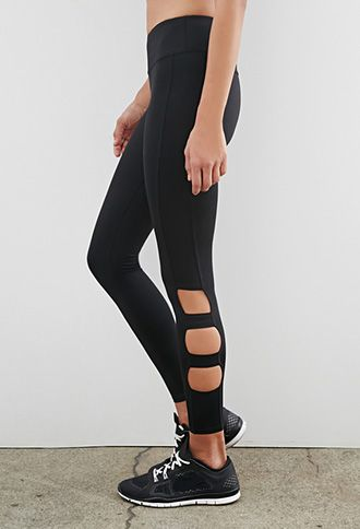 Sheer Cut Out Leggings - Trendy Clothes