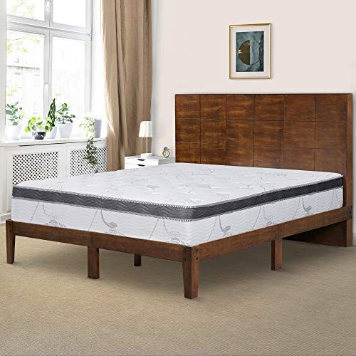 Ecos Living 48 Inch High Rustic Panel Headboard Platform Bed Frame