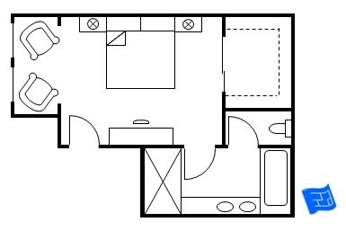 Master Bedroom Floor Plan With The Entrance Straight Into