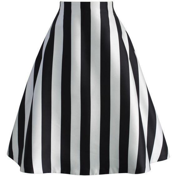 Chicwish Chic in Stripes A-line Midi Skirt ($47) ❤ liked on ...