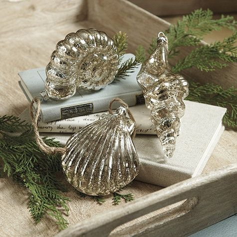 Part of our Nordic Seaside Holiday collection, these shimmering Glass Seashell Ornaments are an elegant way to bring a little touch of the sea home for the holidays. Designed of blown mercury glass, they're extra large and easy to see on the tree.: