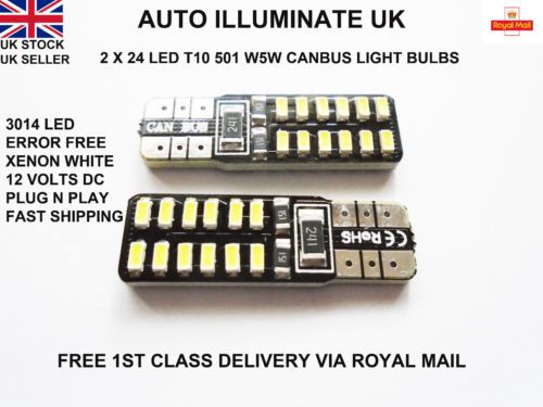 T10 8 SMD CANBUS ERROR FREE LED XENON HID PURE WHITE W5W 501 SIDE LIGHT BULBS UK