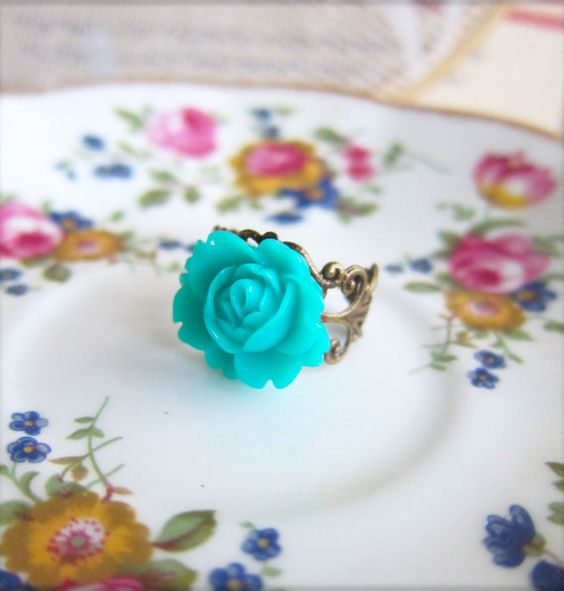 Aqua Floral Ring Turquoise Blue Green Teal Ring Cyan by Jewelsalem, $3.98