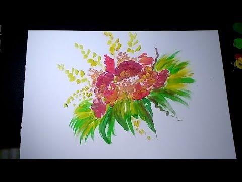 Cara Menggambar Bunga Menggunakan Cat Air Youtube Menggambar Bunga Cat Air Cara Menggambar