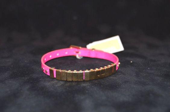 "NWT 9"" Michael Kors Gold Tone Link Pink Leather Buckle Bracelet-Brand New #MichaelKors #Buckle"