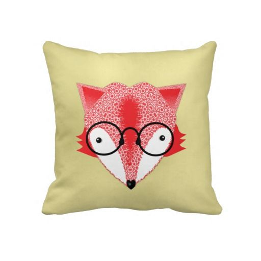 Cute Whimsical Bespectacled Funky Fox Picture on Fashionable Home Decor Throw Pillows.  A fabulous bespectacled rust brown whimsical cute fox picture on a light gold base, such a modern funky throw pillow suitable for any type of room.